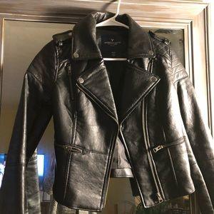 American eagle black leather jacket
